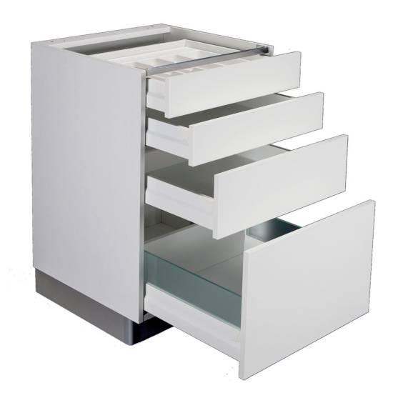 Meuble bas grande hauteur – 3 tiroirs – 1 grand casserolier : disponible en plusieurs largeurs de 40 à 120 cm