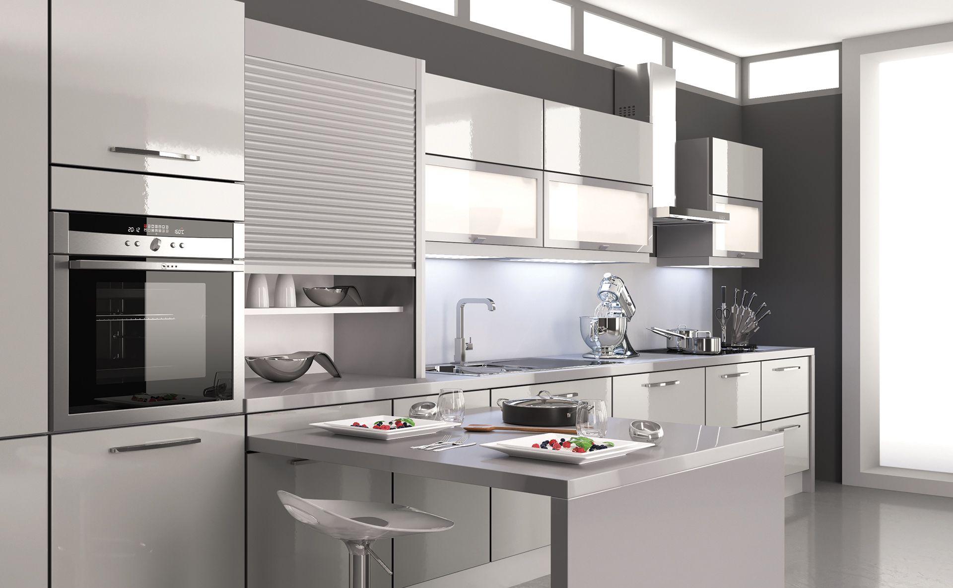 Cuisine mirage gris tourterelle design et quip e par for Cuisine teisseire