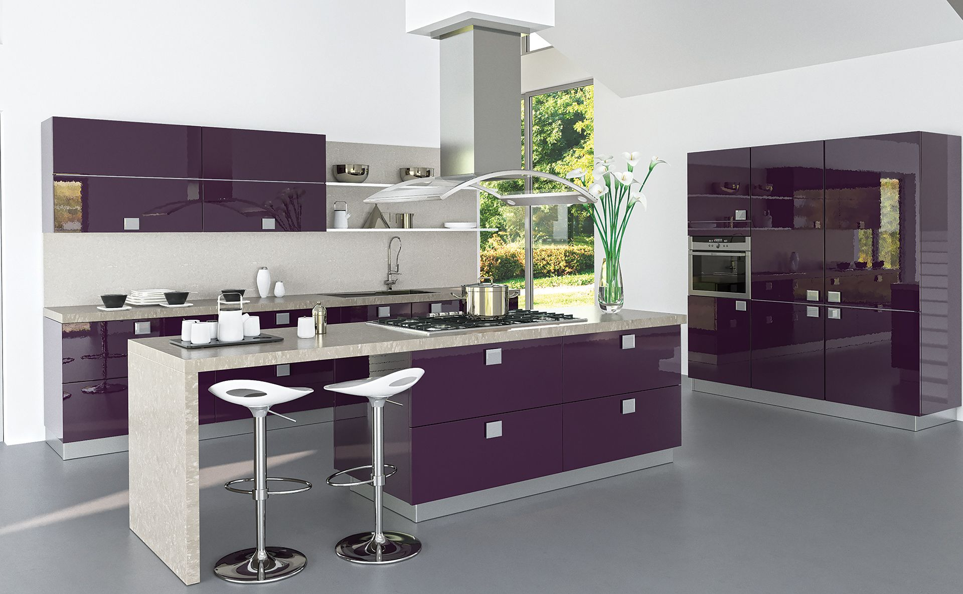 cuisine estoril aubergine atypique et quip e par cuisines teisseire. Black Bedroom Furniture Sets. Home Design Ideas
